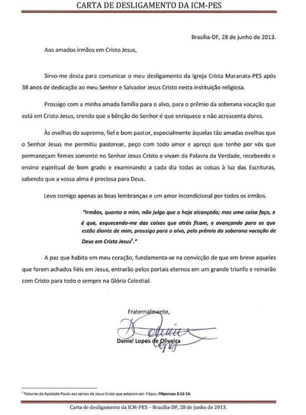 carta de desligamento da maranata
